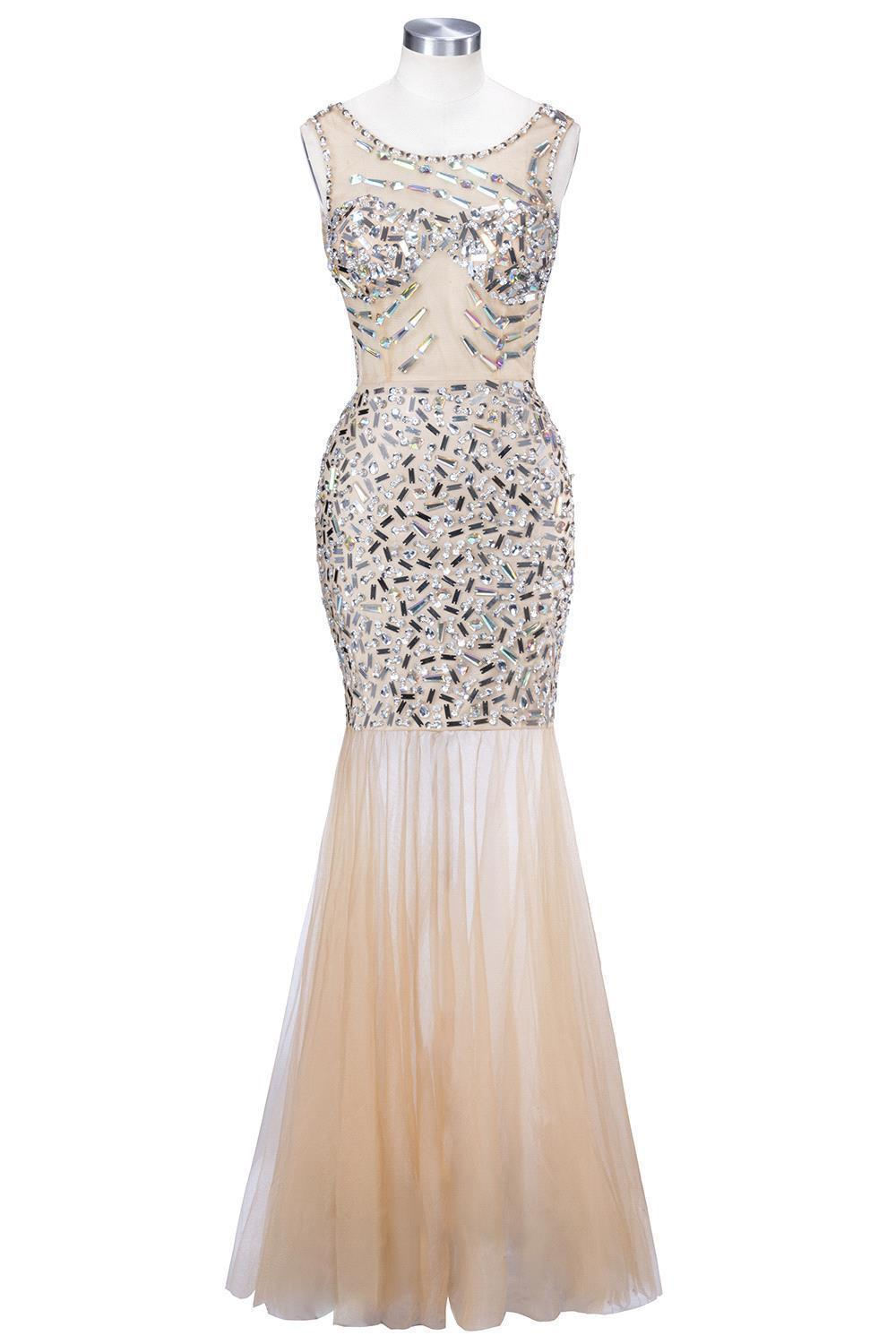 Champagne Backless Sleeveless   Evening     Dresses   Long With Luxury Beaded Mermaid   Evening   Gowns For Women Tulle Formal   Dress