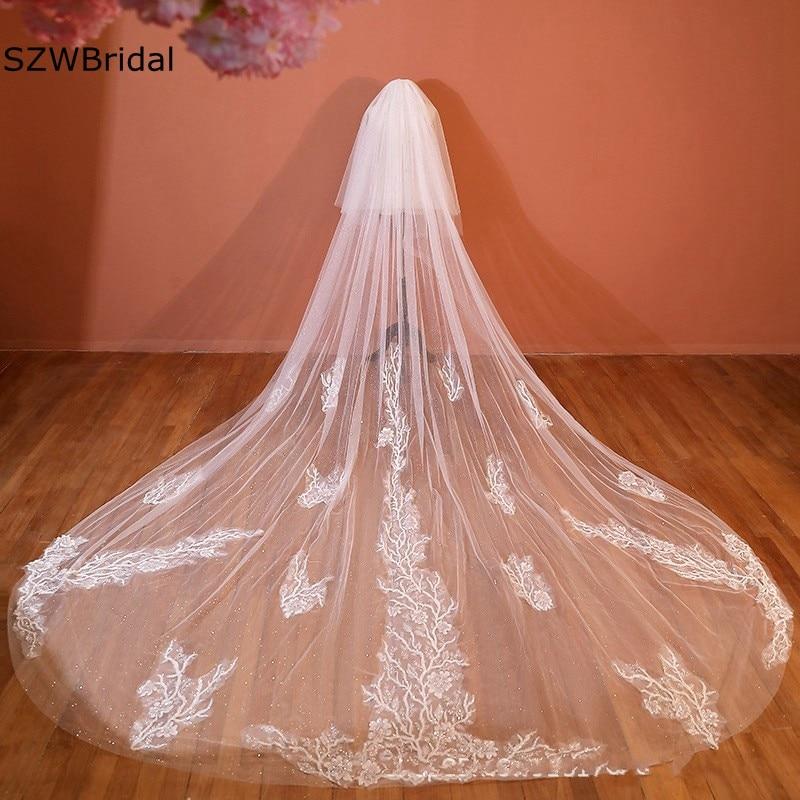 New Arrival Cathedral wedding veil Long bruiloft Welon ivory voile Bride Bridal Veil Sexy wedding accessories Vestido de noiva