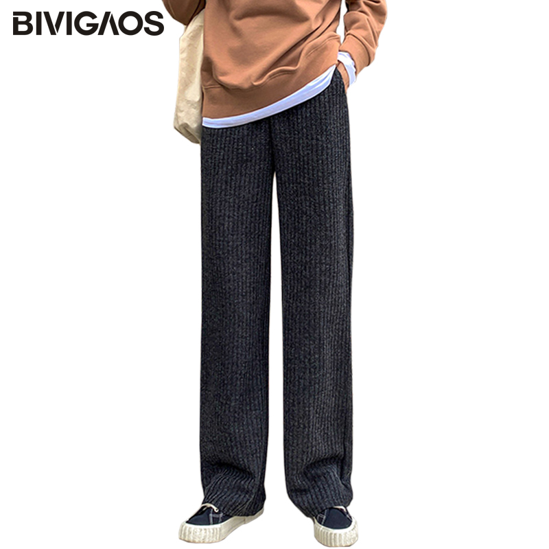BIVIGAOS 2019 Autumn Winter New High Waist Knit   Wide     Leg     Pants   Women Casual Drape Trousers Loose Slim Straight Long   Pants