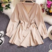 Gagaok mulheres senhora do escritório mini vestido primavera outono nova v-neck faixas império sólido fino simples chique selvagem vestidos de moda feminina