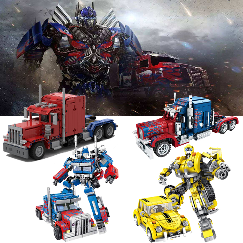 MOC Technic Truck Transformation Optimus Prime Truck Creator Pull Back Car Building Blocks 2-in-1 Deformation Children Toys Gift