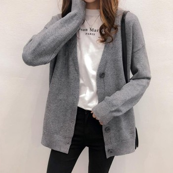 Autumn And Winter Loose Lazy Style Cardigan Coat Waitmore V-neck Knitted Western Style Short Sweater For Women image