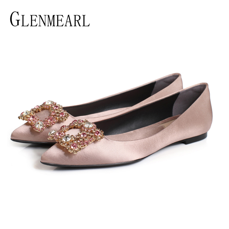 Women Flats Wedding Shoes Rhinestone Pointed Toes Cinderella Cryatal Shoes Flat Slip On Spring Summer Party Shoes Plus Size 2020