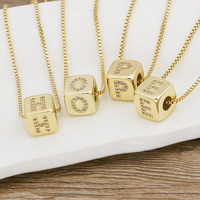 2020 Hot Sale A-Z Initials Micro Pave Copper CZ Cube Letter Pendant Necklaces For Women Men Charm Chain Family Name Jewelry Gift 6