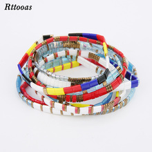 Rttooas New Simple Bracelet Flat Stretch Square for Women Men Seaside Beach Miyuki Tila Seed Bead Jewelry
