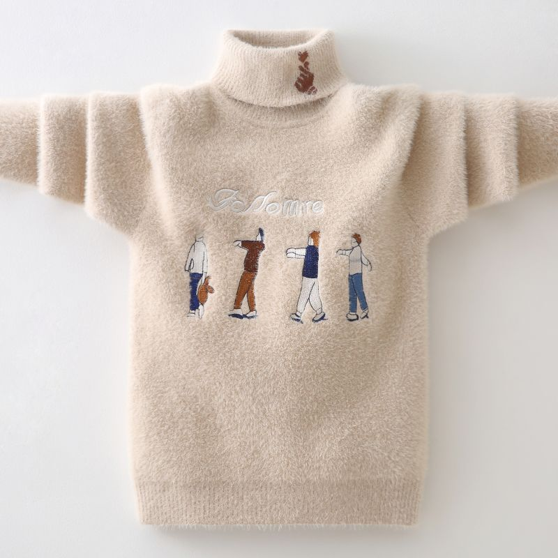 winter Boys Sweater Keep warm Cotton clothing children's Sweater Turtleneck pullover Sweater Kids clothes  Boys clothing 2