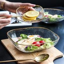 Стеклянная Салатница Бытовая большая прозрачная креативная посуда для завтрака десертная чаша фруктовая тарелка