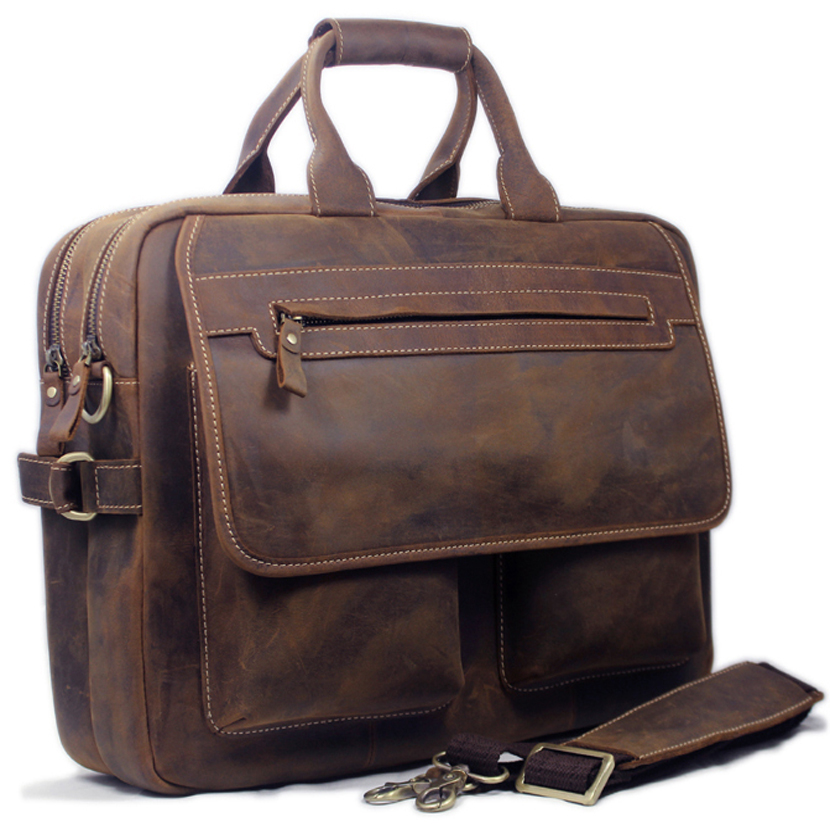 Vintage Men Leather Briefcase Handbags Business bag Crazy Horse Genuine Leather portfolio men briefcase male laptop bag office