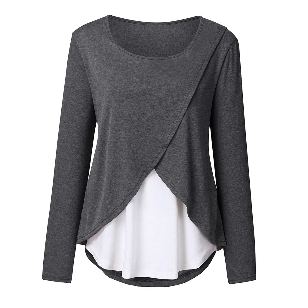Women Pregnant Hoodies Sweatshirt Nusring Maternity Long Sleeve Splicing Pullover Breastfeeding Clothes Sweatshirt Autumn Winter