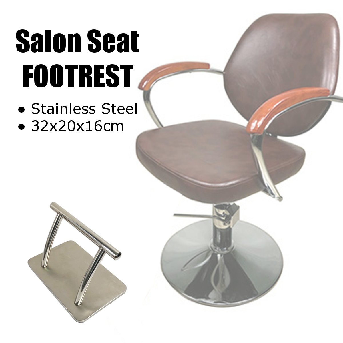Hot Barber Chair Stainless Steel Footrest Salon Tattoo Hairdressing Seat Floor Stand Foot Rest Furniture Parts Accessories Non-S
