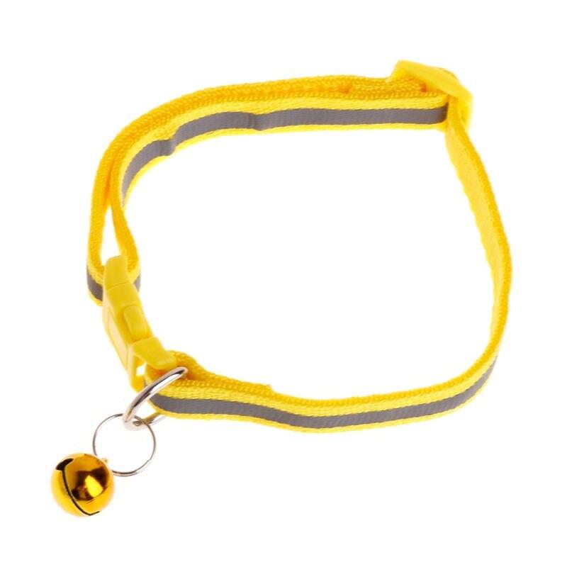 Ошейник для питомца, Светоотражающий ремень, защита от потери собаки, щенка, котенка, кошки, ремень для безопасности, регулируемый звонок, декоративные изделия L41A - Цвет: Цвет: желтый