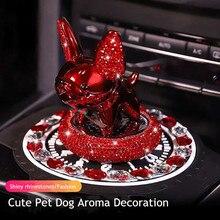 2020 새로운 만화 귀여운 강아지 선물 다이아몬드 개 떨고 머리 자동차 인테리어 장식 향수 솔리드 자동차 아로마 장식
