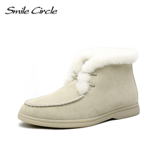 Smile Circle Women Snow Boots Natural fur Genuine Leather Ankle Boots Winter Comfortable Flat Wool Boots Women Shoes cheap CN(Origin) Cow Suede Solid E8032 Adult Flat with Plush Round Toe Short Plush Rubber Flat (≤1cm) Lace-Up Fits true to size take your normal size