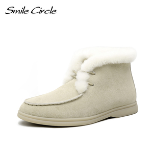 Smile Circle Women Snow Boots Natural fur Genuine Leather Ankle Boots Winter Lace-up Comfortable Flat Wool Boots Women Shoes