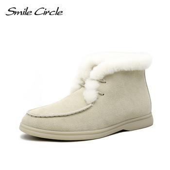 Smile Circle damskie śniegowce futro naturalne buty do kostki ze skóry naturalnej zimowe wygodne płaskie buty z wełny damskie buty tanie i dobre opinie CN (pochodzenie) Krowa Zamszu ANKLE Stałe E8032 Dla dorosłych Mieszkanie z Buty śniegu Pluszowe Okrągły nosek Zima