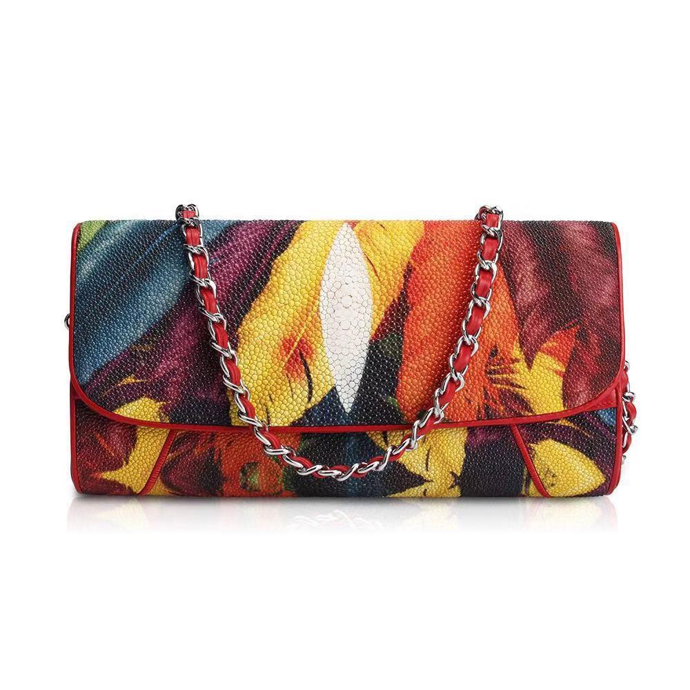 bags for women 2019 luxury designer Pearl fish skin Chain feather pattern Women's evening bag shoulder bag crossbody bag
