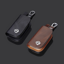 Men's Car Key Bag Brown Black Hanging Zipper Keychain First Layer Leather Nissan Car Key Organizer