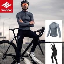 SANTIC-Jersey de ciclismo para hombre, camiseta de manga larga para bicicleta de montaña, camiseta de bicicleta de carretera, accesorios protectores para el sol de otoño