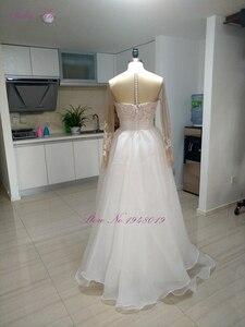 Image 4 - Julia Kui Elegant Lace Of 2 In 1 Mermaid Wedding Dresses Beach With Detachable Skirt Long Sleeve Bride Dress