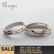 Thaya Train Rail Design Moonstone Lover Rings Gold and Hollow 925 Silver Eleglant Jewelry for Women Gemstone Sweet Gift(China)