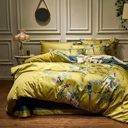 สีเหลือง Silky อียิปต์ผ้าฝ้ายสไตล์ Chinoiserie Birds Plant ผ้านวมคลุมเตียงแผ่นชุดแผ่น King Queen ชุดเครื่องนอน