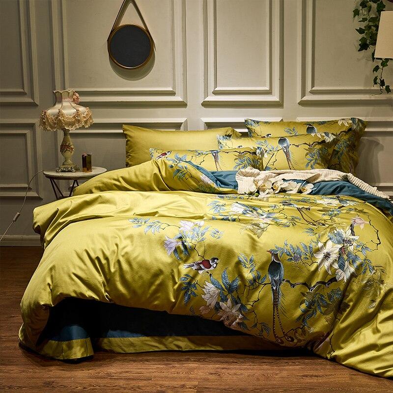 Amarelo de Seda Chinoiserie estilo Aves Planta de algodão Egípcio folha de Cama lençol Capa de Edredão set Rei Queen Size Conjunto de Cama