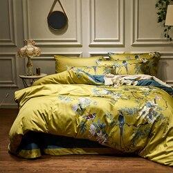 Amarillo algodón egipcio sedoso Chinoiserie estilo aves planta edredón cubierta sábana equipada juego de cama tamaño King Queen