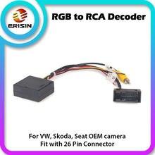 076 rgb para rca/conversor av/adaptador decodificador caixa para vw oem reverse/câmera de visão traseira