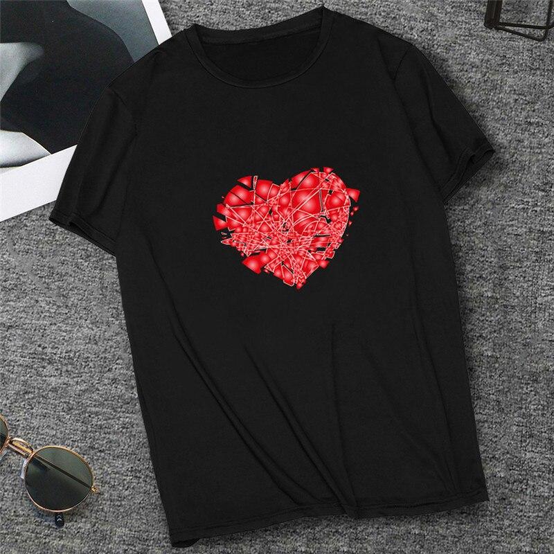 Summer Harajuku Heartbreak Tshirt For Female Casual White Black Short Sleeve Tees Broken Heart Printed T-Shirt Women