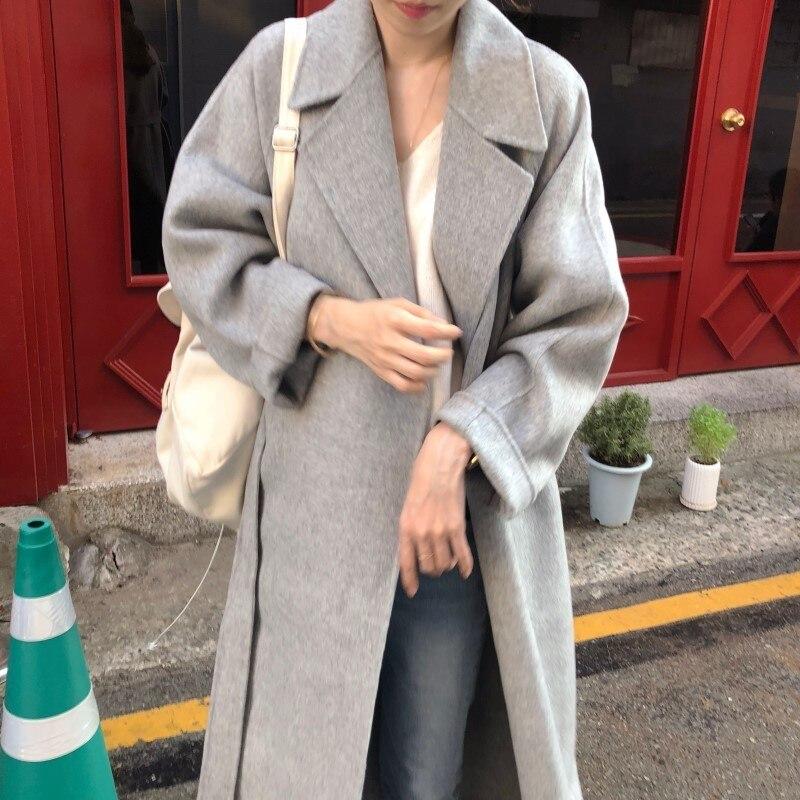 19 Winter Oversize Long Trench Coat Women Cashmere Coat Korean Lady Windbreaker Outwear Streetwear 30