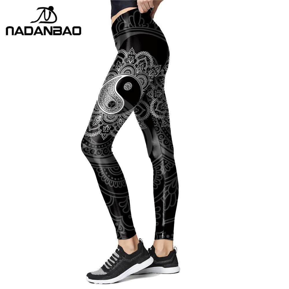 NADANBAO Mandala Yin And Yang Print Leggings High Waist Workout Pants For Women Slim Flower Leggins Outwear Legins