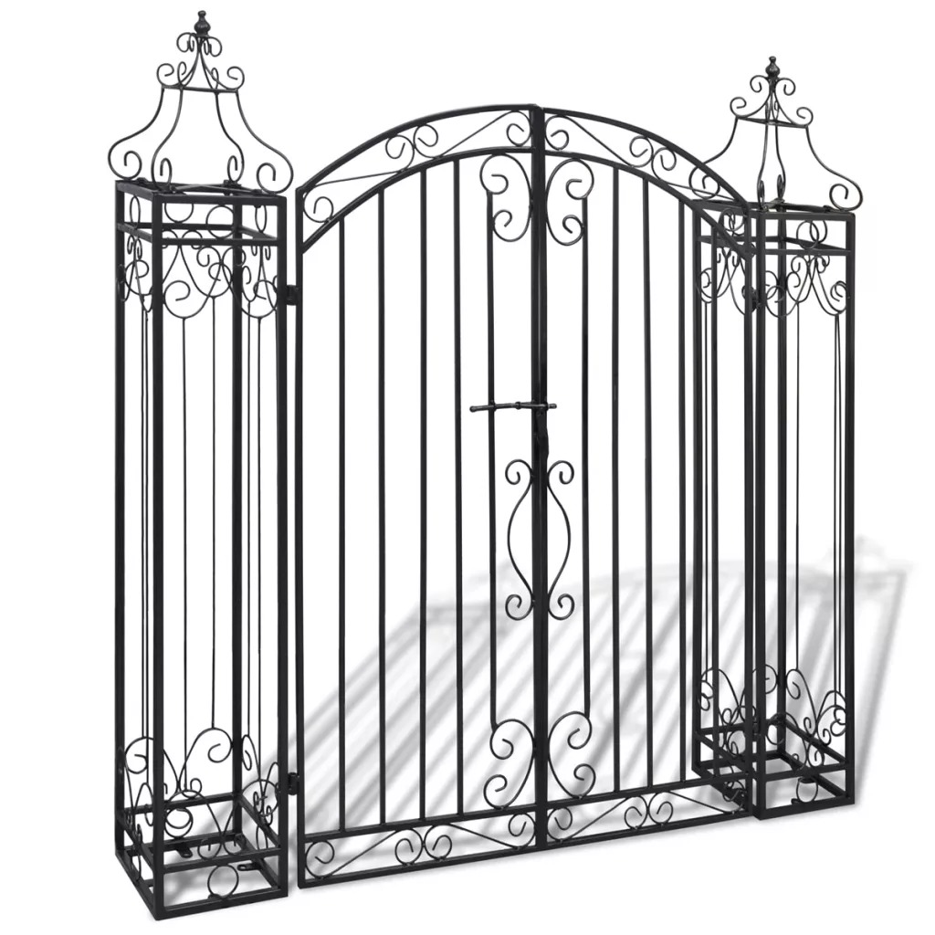 VidaXL Ornamental Garden Gate Wrought Iron 122x20.5x134 Cm Strength Corrosion Resistance Material Garden Gate