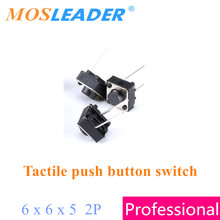 Mosleader 6x6x5 1000pcs 2P In the middle 6*6*5 Tactile push button switches DIP Made in China High quality