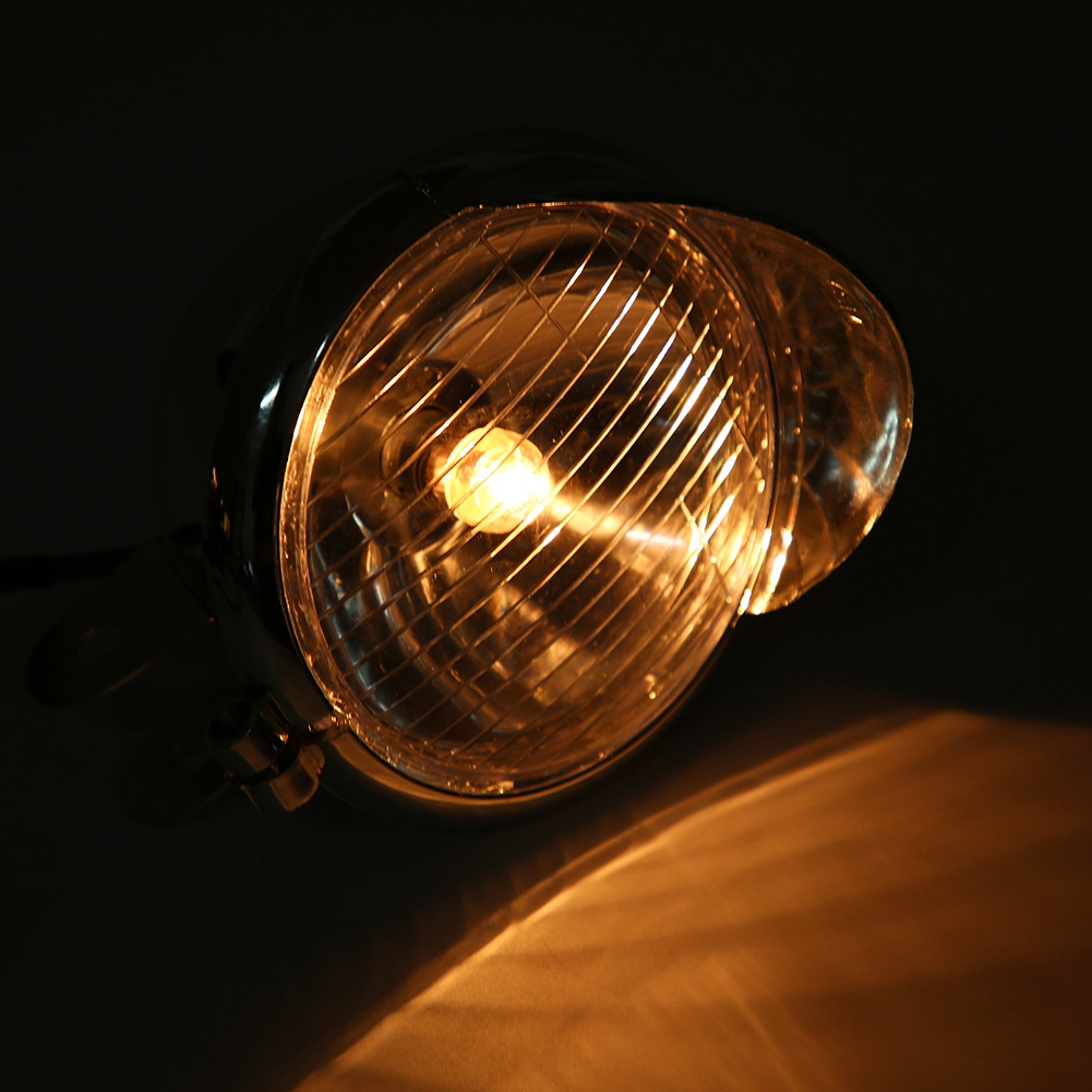 Universal DC 12V Motorcycle ABS Retro Fog Lights Headlight Lamp Moto Working Spot Light Head Lamp White Car Headlamp