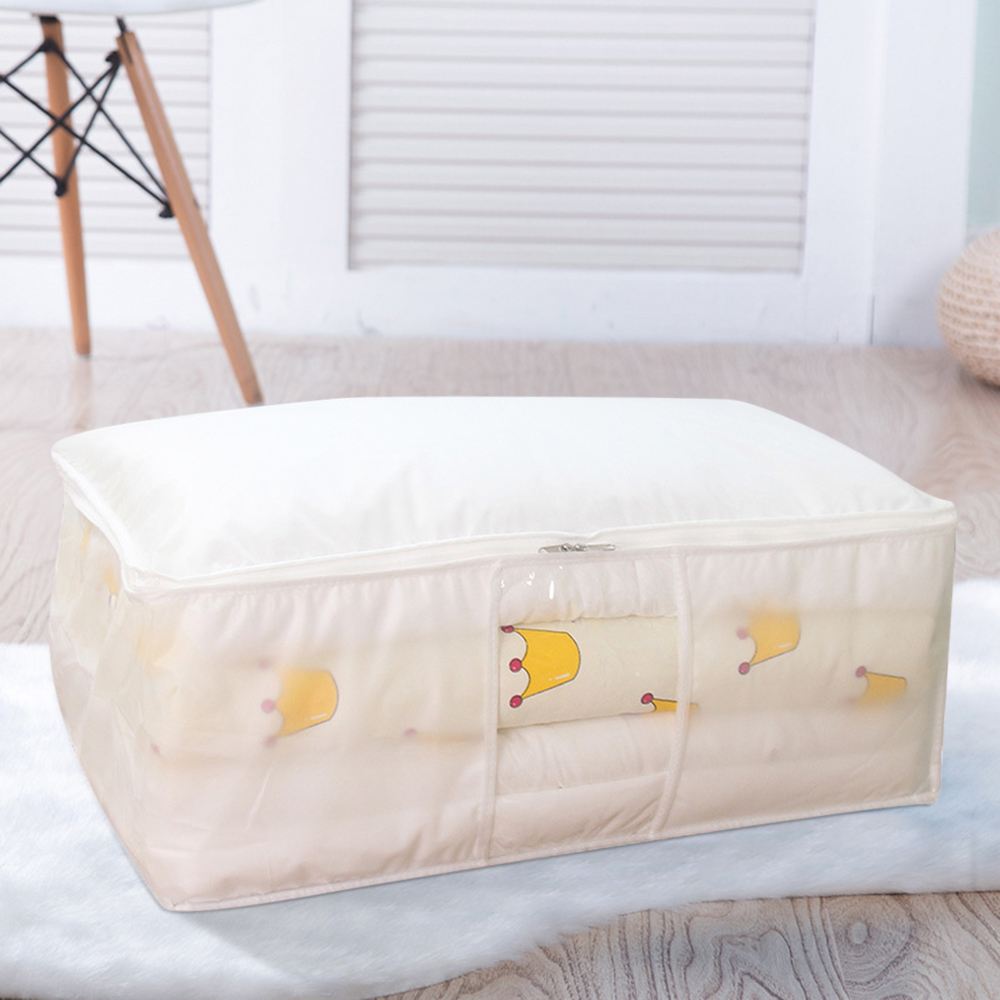 Non Woven Fabric Folding Storage Box Dirty Clothes Collecting Case With Zipper For Toys Quilt Storage Box Clear Window Organizer - Цвет: White 58x40x22cm