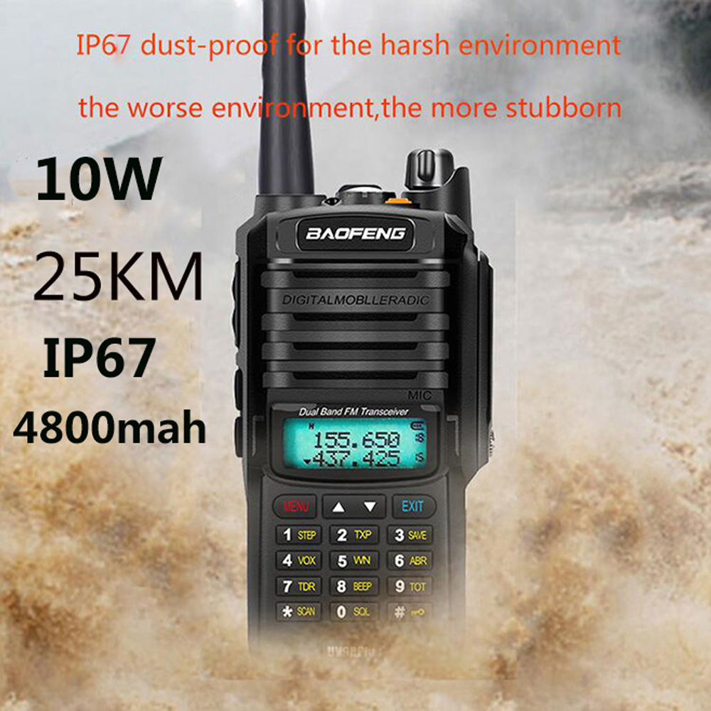 Upgrade Uv9r Baofeng UV-9R Plus 50km Walkie Talkie 10W 4800mah Two Way Radio Vhf Uhf Ham Radio Long Range CB Radio Station