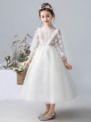 Детское платье; платье принцессы; благородное пончо для подиума для девочек; белый костюм для маленьких девочек