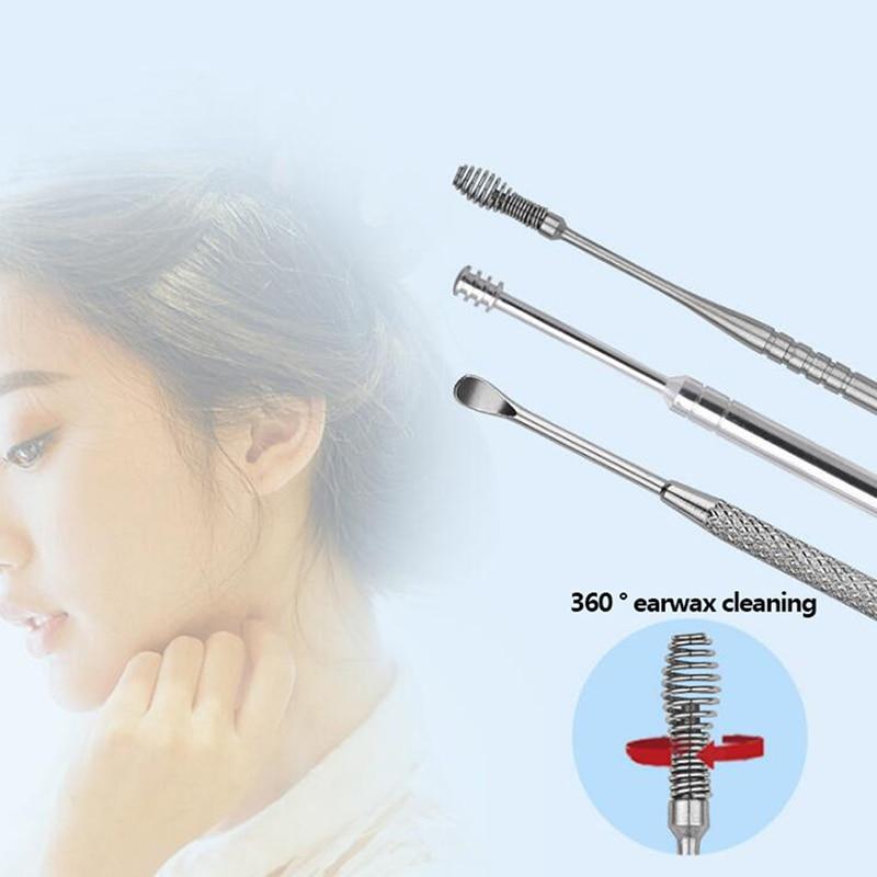7pcs/set Stainless Steel Ear Wax Pickers Set Stainless Steel Earpick Wax Remover Curette Ear Cleaner Tool