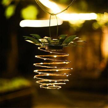 1pcs Solar Pineapple Light Waterproof Path Lights Hanging Night Light Waterproof Wire Lamp Portable Night Light Garden Wall Lamp