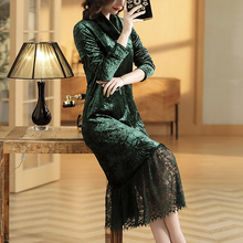 Fall Witner Womens Female Turtleneck Green Lace Patchwork Green Velour Long Dress
