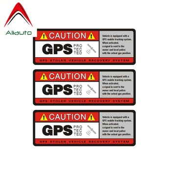 Aliauto 3 X Warning Car Sticker Caution GPS Protected Decal Accessories PVC for Nissan Suzuki Peugeot Honda Civic Kia,10cm*4cm image