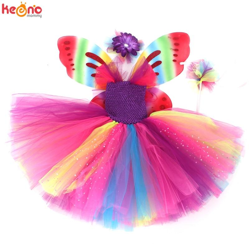 Girls Butterfly Fairy Fancy Tutu Dress Wings Costume Kids Princess Birthday Party Halloween Cosplay Kids Spring Tulle Dress 6