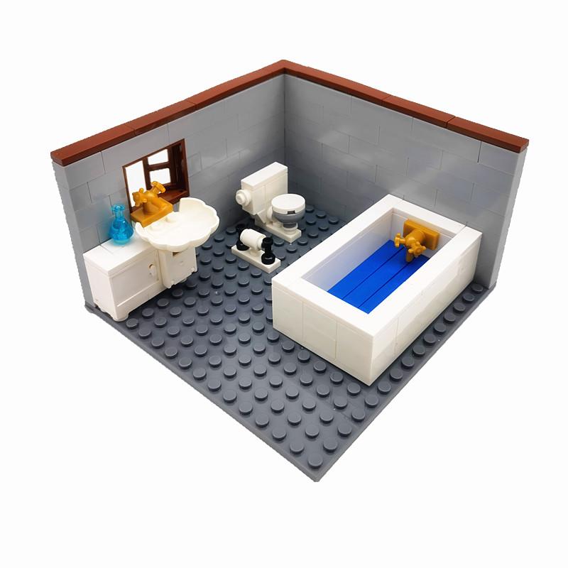 Compatible Classic City Blocks House Furniture MOC for Kids DIY Toys Bathroom Toilet Hand Basin WC Closestool Building Bricks