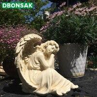 Adorno de Ángel de la felicidad al aire libre escultura de Ángel de resina jardín Parque patio dormir belleza artesanías decoración estatuillas de escritorio