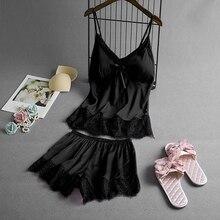 Sleep Lounge Pajamas Set Sexy Satin Sleepwear Women Summer P
