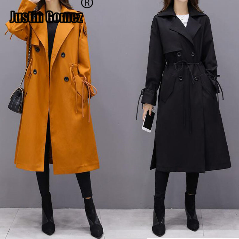 High Fashion Streetwear Women's Midi-Length   Trench   Coat solid Winter Slim mustard Black Outerwear