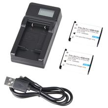 Voor Olympus Li-40B/EN-EL10 3.7V 1200mAh Batterij 2 + LCD Display USB Charger + USB Kabel #8(China)