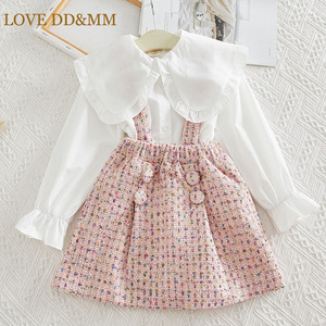 LOVE DD&MM Girls Sets 2020 Girl Autumn New Sweet Big Lapel Long Sleeve Shirts Strap Color Dot Skirts Kids Clothes(China)