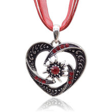 الموضة متعدد الألوان الساحرة الشريط حبل قلادة بوهو خمر شكل قلب Edelweiss قلادة قلادة النساء المجوهرات الأكثر شعبية