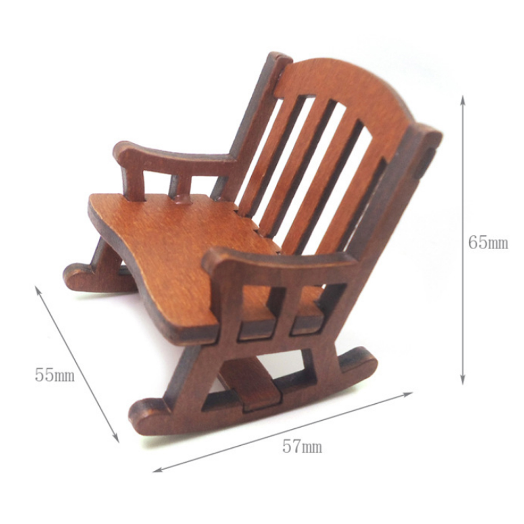 Wooden Rocking Chair Model Items For 1/12 Scale Dollhouse Miniature Toys Gifts